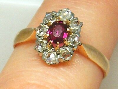 18CT GOLD 18K Gold Antique Ruby & Old Mine Cut Diamond ring size L