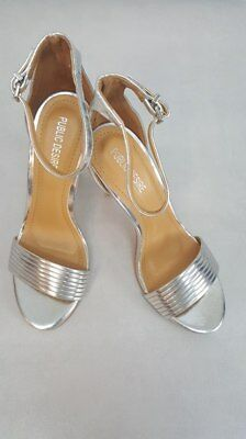d1238610af Public Desire Lily Silver Barely There Heeled Sandals size UK4 (loc. S4/5