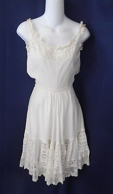 Edwardian White Cotton Valencienne Lace Flounce Girl's Slip Sewing Dolls Crafts