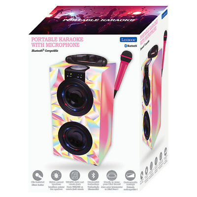 Lexibook Portable Karaoke Machine and Microphone in Pink