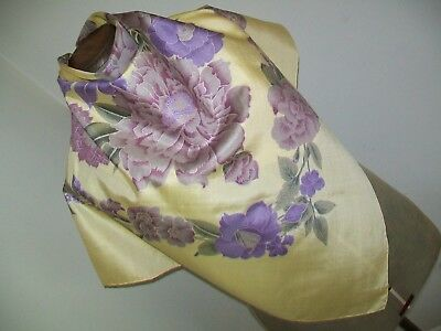 Large & Beautiful Lilac & Lemon Botanical Design Vintage Thai Silk Scarf