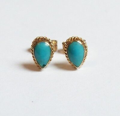 9Ct Gold & Natural Turquoise Oval Stud Earrings Hallmarked