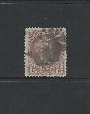 CANADA - #29 - 15c LARGE QUEEN VICTORIA WITH CORK CANCEL (1868)