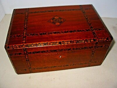 Delicate Victorian, Jewellery Box in Banded Marquetry Tunbridgeware