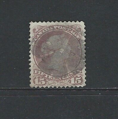 CANADA - #29 - 15c LARGE QUEEN VICTORIA WITH LIGHT CORK CANCEL (1868)