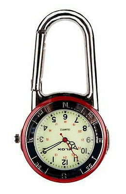 Shiny Silver Clip On Carabiner Red & Black Bezel Luminous Face Doctors FOB Watch