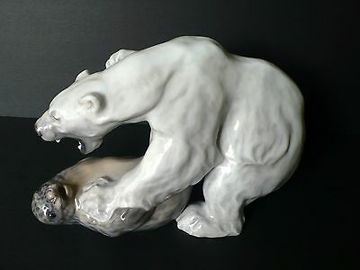 Ferocious Royal Copenhagen Large POLAR BEAR and SEAL # 1108 Figurine KNUD KYHN