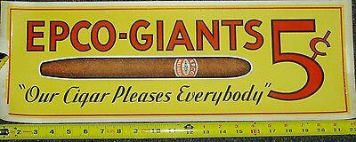 EPCO-GIANTS CIGAR SIGN 1920's BIG 5 CENT CIGARS COUNTRY STORE DISPLAY POSTER