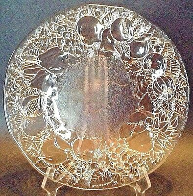 Large Crystal Or Pressed Glass Platter With Lovely Fruit Design By B Altman