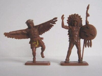 2 x CRESCENT. WILD WEST INDIANS 1960's PLASTIC TOY SOLDIER.  1/32 SCALE