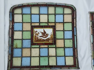CIRCA 1850s/1880s Beautiful  Antique Stained Glass Leaded bird window