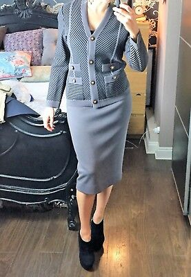 Knitted brown MEDICI by Gill Harvey Ladies Two Piece Suit: Jacket & Skirt. UK 10