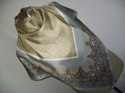 Large & Beautiful Silver Grey & Gold Spotty / Paisley Design Vintage Silk Scarf