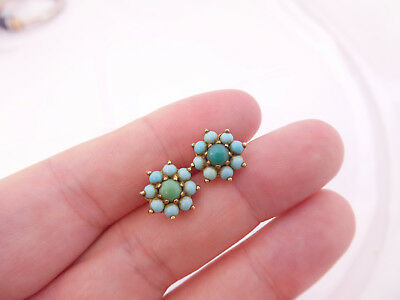 9ct/ 9k gold natural Turquoise vintage cluster stud earrings, 375