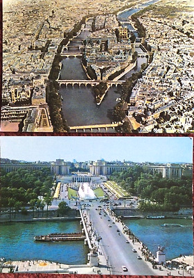 Two Old Postcards Of Paris France La Seine Aerial Pictures Interesting History