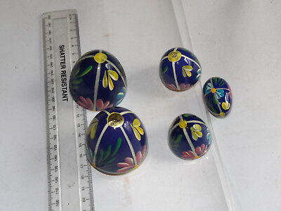 3 Polish hand painted  wooden Eggs (nesting)