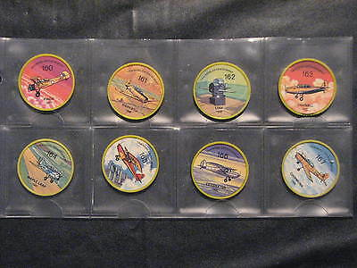 1960's Jell-o/Hostess Airplane Wheels Trainer lot of 8 - #'s 160 - 167.