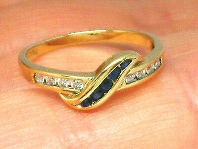 9K Gold 9ct Yellow Gold  Vintage Sapphire Hallmarked ring size L