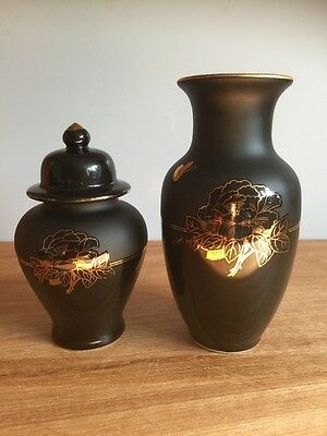 Gold  Flower on two  Jars  Made by HS Japan