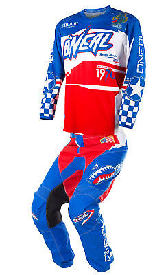 O'Neal Blue/Red/White Mens Youth Element Afterburner Dirt Bike Jersey Pants Kit
