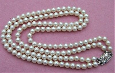LOVELY Double Strand Mikimoto Cultured Pearls Necklace with Certificate Vintage