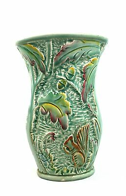 Vintage Beswick Squirrel & Acorn Vase 680 Green Red Yellow
