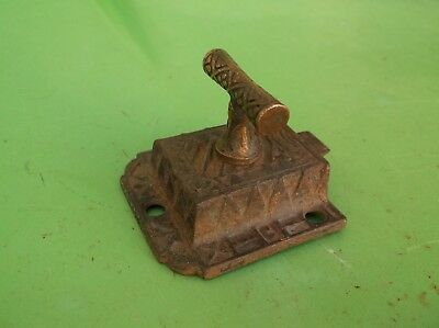 Vintage Cast Iron Cabinet Door Latch. Brass Handle.