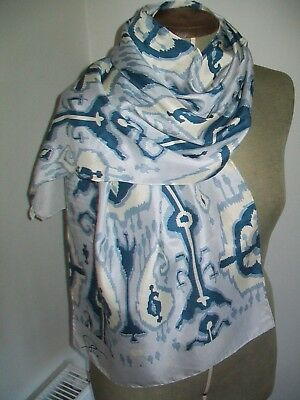 Patra. A Large & Beautiful Ikat Design Vintage Silk Scarf