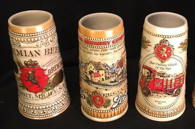 Your Choice of Each STROH'S HERITAGE SERIES 2-6, CERAMIC BEER STEINS