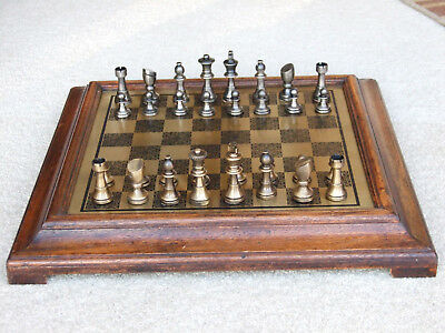 Vintage  Brass And Pewter Chess Set