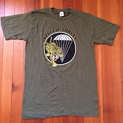 Deadstock Vtg 1983 Screen Stars Special Forces TIGER Army T Shirt Vietnam Punk M