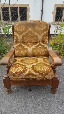 A Large Chunky Vintage Art Deco Revival Wooden Solid Oak Armchair 1940's/50's