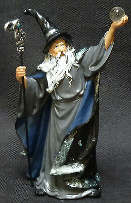 """EVOCATION   Wizard with Crystal and Staff  Statue  Figurine  H7.5"""""""