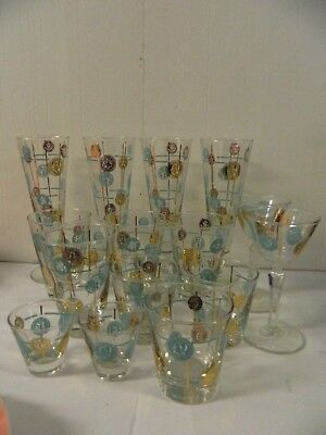 Mid Century Libbey Old Coin Bar Glasses Turquoise & Gold Pilsner DOF Wine Shot