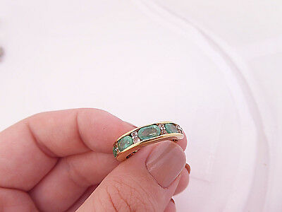 Fine four stone Emerald & white spinel heavy sterling silver ring,  925