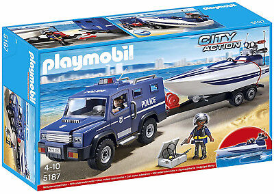 Playmobil 5187 City Action Police Truck with Speedboat Child Toy New