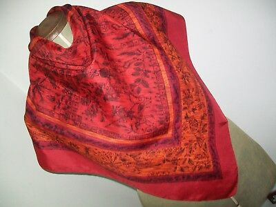 Unusual Persian / Ottoman Inspired Hunting Design Vintage Silk Scarf
