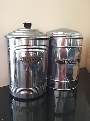 Vintage Antique French CAFE coffee CHICOREE Canisters Jars Shabby Chic!