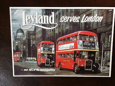 London Leyland Red bus  postcard great condition
