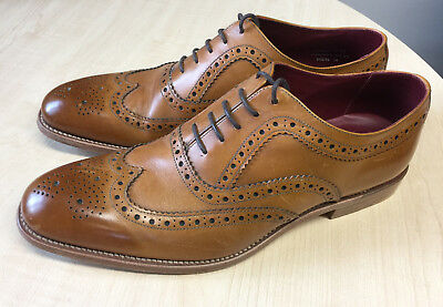 Loake Fearnley Tan Burnished Calf Leather classic men's brogues size 9.5F