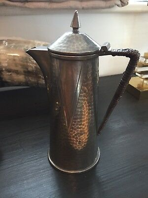Vintage Antique British Pewter Water Coffee? Pot With Wrapped Handle