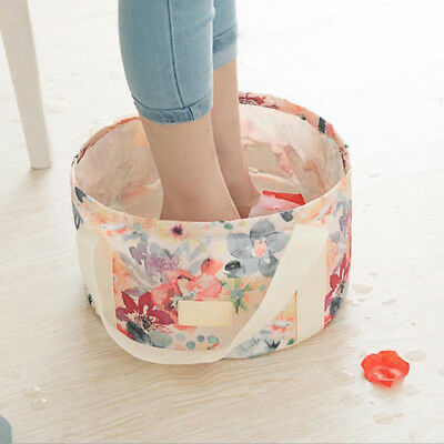 Portable Folding Washbasin Floral Bucket Foldable Camping Water Pot Outdoor