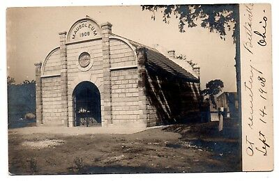 "Bettsville Ohio 1908 ""mausoleum""--At The Cemetery--Real Photo Awesome View~~~"