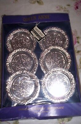 """vintage silver plated wine coasters """"queen anne"""" never used original 99p no res"""