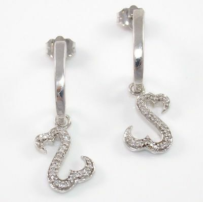 Jane Seymour Open Heart Sterling Silver 1/8ct Diamond Dangle Earrings