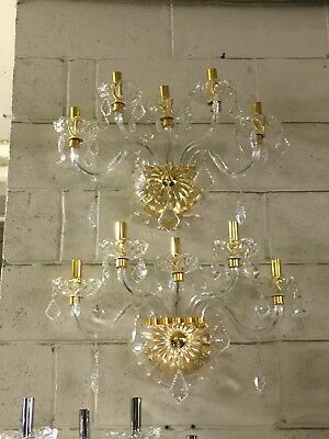 Pair of Beautiful Genuine Crystal Sconces -  Gold accent - 2 lights