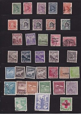 Joblot of early Chile stamps ,  Overprints and aero issues     2 scans