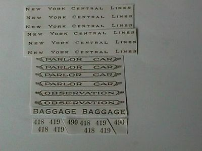 Self-Adhesive Decals: New York Central 418-419-490 Cars