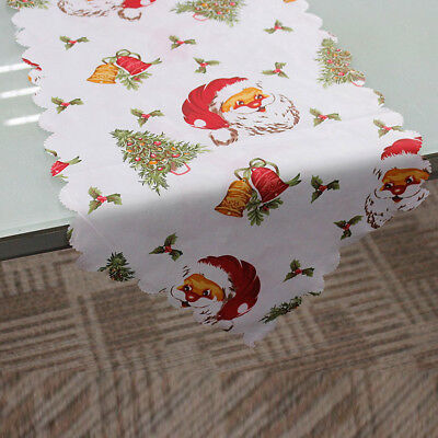 Decorative Christmas Santa Claus Tapestry Poinsettia Table Runner 14x71 Inch