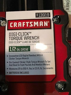 Craftsman 1/2 in Drive Digi-Click Digital Torque Wrench 25-250 ft lbs tool New!